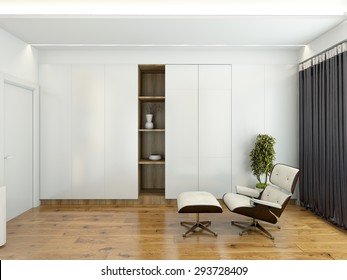 Modern interior with a chair and a wardrobe 3D rendering