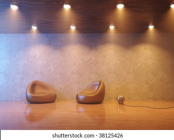 Modern interior composition with smoke and warm lighting