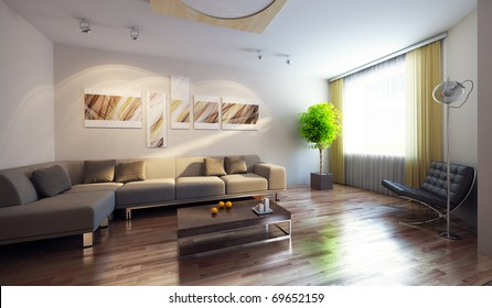 modern interior with couch and picture on the wall, 3d render