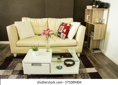 Modern interior decorated with flower on table
