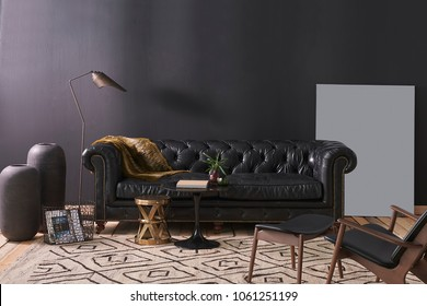 modern interior decoration living room sofa and middle stand. Coffee table and home design.