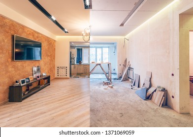 Modern interior design of big living-kitchen studio room, before and after