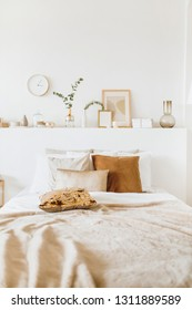 Modern interior design concept. Bright beige and golden style bedroom with bed, pillows, bedcover, clock, eucalyptus branch, vase, candle.