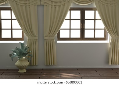 Modern interior design with flowers. 3D illustration