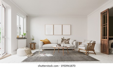 Modern interior design for home, office, interior details, upholstered furniture on a white wall background.
