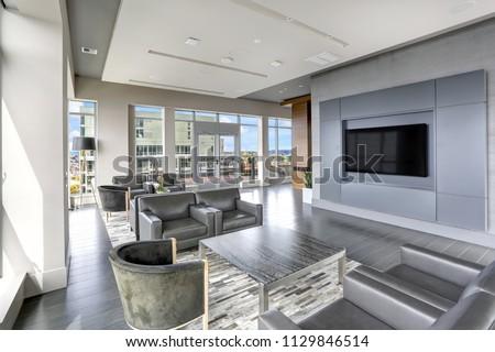 Modern Interior Design Living Area Leather Stockfoto Jetzt