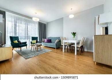 Modernes Wohnzimmer mit Inneneinrichtung und Holzboden