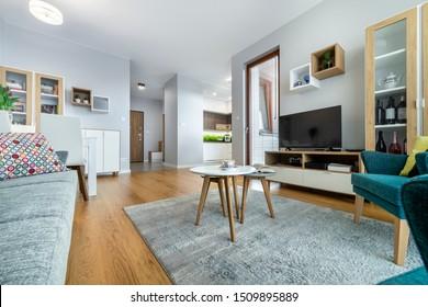 Modern interior design living room with wooden floor