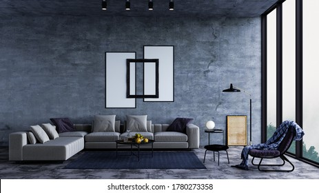 Modern interior design of a living room in an apartment, house, office, bright modern interior details and sun rays from the window against the background of concrete walls.