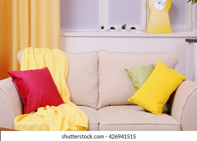 Modern interior design. Living room with sofa closeup