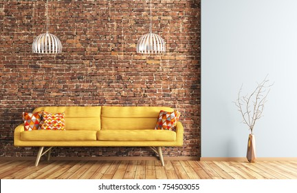 Modern interior design of living room with yellow sofa and lamps over brick wall 3d rendering