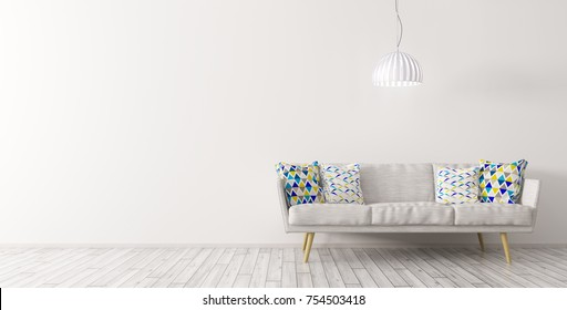 Modern interior design of living room with white sofa and ceiling lamp against of white wall on the wooden floor panorama 3d rendering