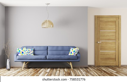 Modern interior design of living room with blue sofa and wooden door 3d rendering