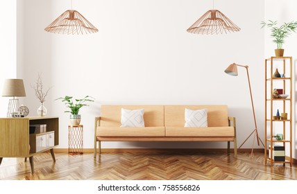 Modern interior design of living room with orange sofa, sideboard, lamp and shelf 3d rendering