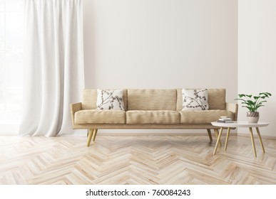 Modern interior design of living room with beige sofa, coffee table,  scandinavian style, 3d rendering