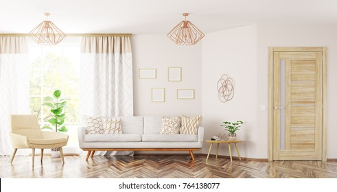 Modern interior design of living room with sofa,armchair, wooden door and window panorama 3d rendering