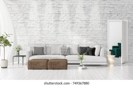 Modern Interior Design Of Livingroom In Vogue With Plant, Grey Divan,  Copyspace. Horizontal