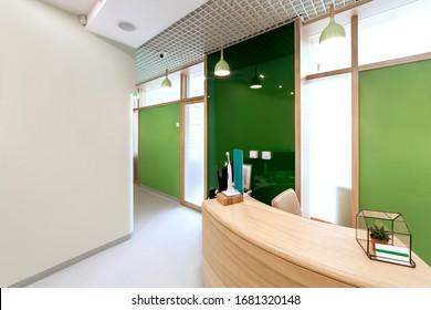 Modern interior design. Lobby at  dental clinic.