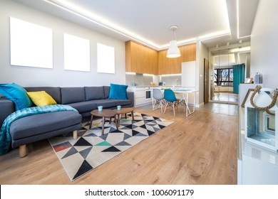 Modern interior design - open space living room with kitchen