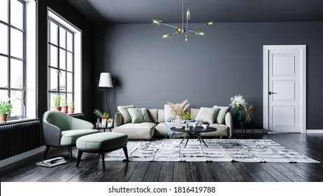 Modern interior design, in a spacious room, next to a table with flowers against a gray wall.Bright, spacious room with a comfortable sofa, plants and elegant accessories. - Shutterstock ID 1816419788