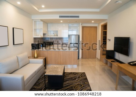 Modern interior design studio apartment hotel stock photo edit now