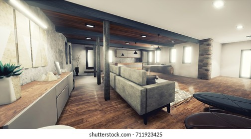 Modern Interior Design. Wood Floor, white walls, grey fabric sofa,   white and wood kitchen and modern decoration.   3D illustration