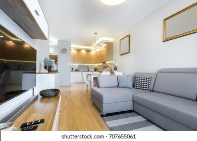 Modern interior design with wooden fronts in kitchen
