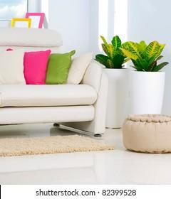 Modern Interior design.White Living Room