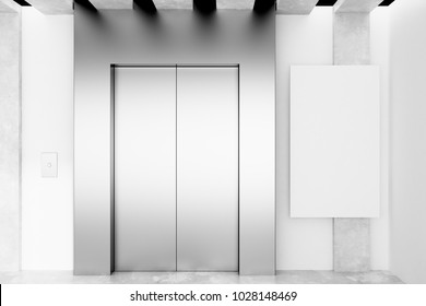 Modern interior with elevator and empty poster on concrete wall. Success concept. Mock up, 3D Rendering