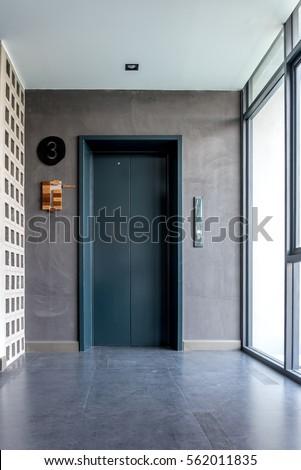 Modern Interior Elevator Hall Design Redecoration ภาพสต็อก ...