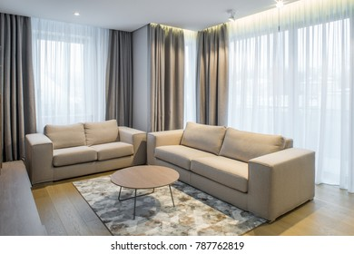 Modern Interior of the guest room in the apartment.