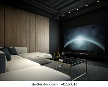 Modern interior, Home theater room 3D render