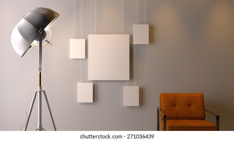 Modern Interior with light, empty picture frames, wall and chair - 3D rendering