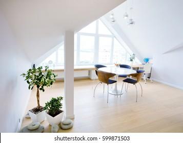 modern interior light a large apartment in mansard