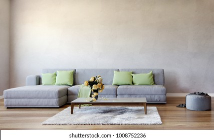 modern interior living room, 3d illustration, 3d rendering