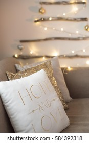 Modern interior of living room. Creative christmas lights