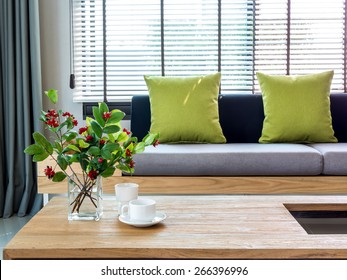 Modern interior of Living room with flower vase and sofa background