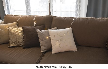 Modern interior of living room and pillows