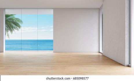 Modern interior Living room sea view summer 3d rendering. empty room wood floor with window