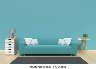 Modern interior of living room with sofa on wood flooring and  blue wall