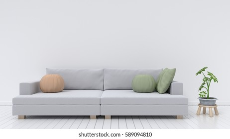 Modern interior of living room with sofa on wood flooring and white wall,3D rendering