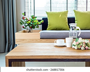 Modern interior of Living room still life with coffee table and sofa background