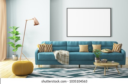 Modern interior of living room with turquoise sofa, yellow knitted pouf, wooden coffee table and mock up poster on the wall 3d rendering