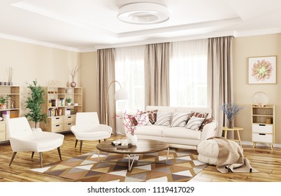 Modern interior of living room with white sofa, armchairs  and coffee table 3d rendering