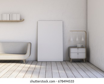 Modern Interior Living room white wall and armchair with frame 3D rendering