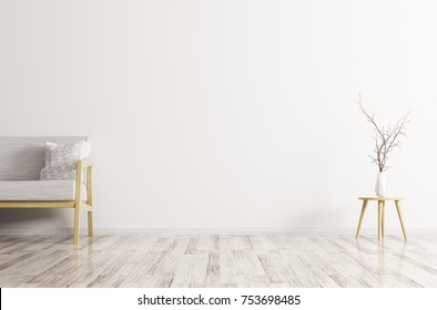 Modern interior of living room with white sofa, vase with branch 3d rendering