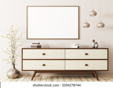 Modern interior of living room with wooden dresser and mock up poster 3d rendering