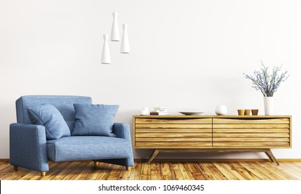 Modern interior of living room with wooden cabinet and blue armchair 3d rendering