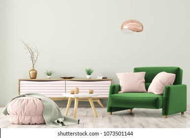 Modern interior of living room with wooden dresser, brown armchair and ottoman over green wall 3d rendering