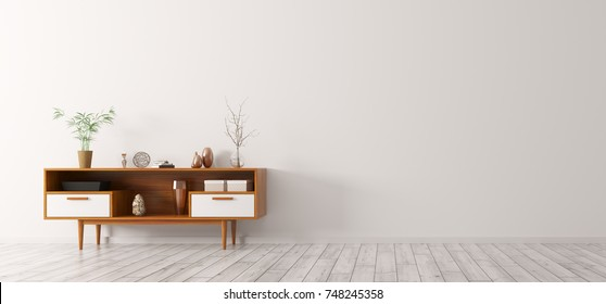 Modern interior of living room with wooden cabinet 3d rendering